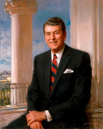 "Q: Is it obvious? Sunrise in  America - the location of the  light hints of a ""new dawn in America"" as vocalized in  his first Inaugural. I don't remember seeing Reagan with a watch."