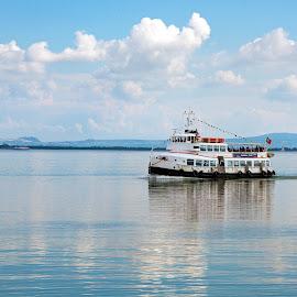 Sailing towards it's destination !!! by Kishu Sing - Transportation Boats ( ship, sea, lisbon, transportation, portugal, boat )
