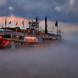 by Jeff Wrigley - Transportation Boats ( new orleans, paddle wheel, mississippi river, river boat, mist )