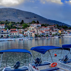 Ag. Efthimia by Stratos Lales - City,  Street & Park  Historic Districts ( clouds, houses, sea, boat, island )