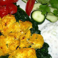 Chicken Tikka With Baby Spinach and Tomatoes