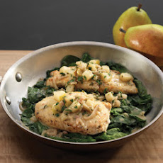 Crispy Chicken Cutlets with Pears, Shallots, and Wilted Spinach
