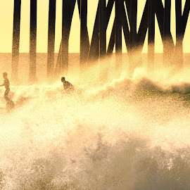 Surfing Among the Pillars by Jose Matutina - Sports & Fitness Surfing ( water, surfing, california, sea, ocean, beach, huntington beach,  )