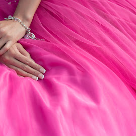 A wedding dress is both an intimate and personal for a woman by Yansen Setiawan - Wedding Details ( ring, detail, dress, wedding dress, pink )
