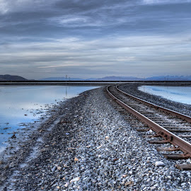 West Desert Railway by Sean Camp - Transportation Railway Tracks ( train tracks, desert, railway, railroad, moody, tracks, deserts,  )