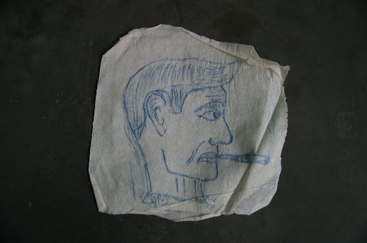 Drawing by NAIK on toilet paper of one of his interrogators while in detention