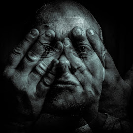 Transparent Hands by Gary Chadbond - People Portraits of Men ( selfie, gary chadbond, hands, black and white, me, gchaddy, Selfie, self shot, portrait, self portrait,  )