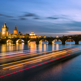 Prague by Kovács Gyuri - City,  Street & Park  Night ( ship, czech, czech republic, night, bride, prague, charles bridge, river )