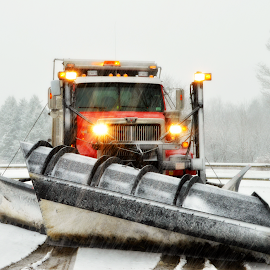 Western Star double wing snowplow by Phil Johnson - Transportation Other ( snowfall, sander, plowing, winter, truck, salter, snow plow, western star )