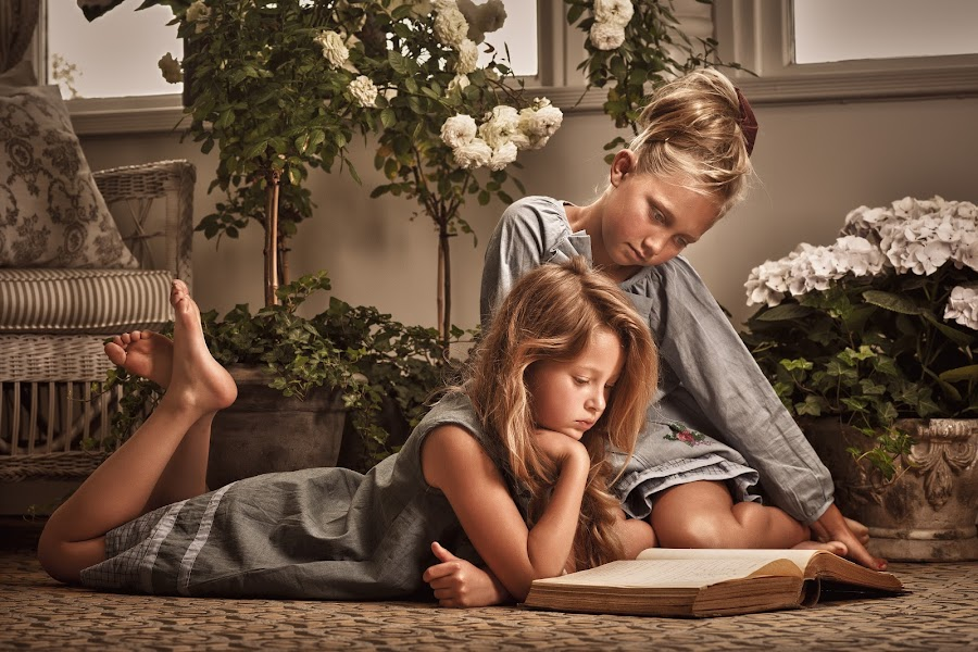 Story time by Jan Kraft - Babies & Children Child Portraits ( girls, friends, vintage, friendship, book, feet, flowers, hair, colours )