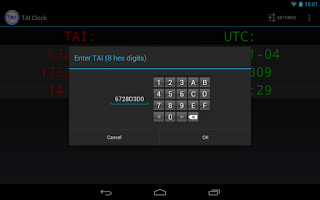 Screenshot of TAI Clock and Converter