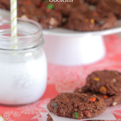 Double Chocolate M and M Cookies