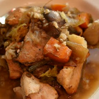Slow Roasted Chicken Stew with Brown Rice and Lentils