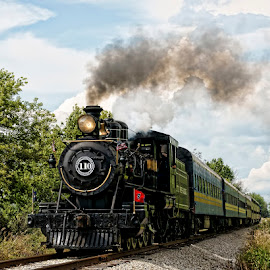 The 110 Steam Engine by Luanne Bullard Everden - Transportation Trains ( clouds, steam engines, tracks, transportation, smoke, trains,  )