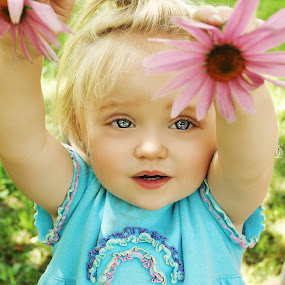 Show Me the Flowers by Cheryl Korotky - Babies & Children Child Portraits ( child model peyton, blonde hair, cone flowers, a heartbeat in time photography, amazing faces, fun pictures, blue eyes, beautiful children, flowers, portrait, , colorful, mood factory, vibrant, happiness, January, moods, emotions, inspiration )