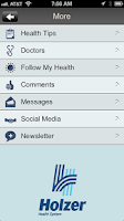 Screenshot of Holzer Health System