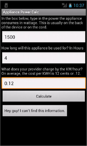 Appliance Power Calc