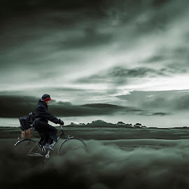 Cycling on the clouds by Gianni Fontana - Digital Art People ( clouds, fine art, composition, cloud, people, bicycle )