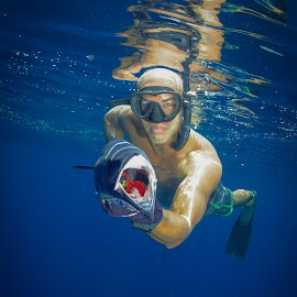 Wahoo! by Alexandre Ribeiro Dos Santos - Sports & Fitness Watersports ( spear fishing, sumba, blue, wahoo, indonesia, sea, nihiwatu, spearfishing )