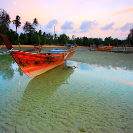 boat @ sekera beach by Demi Nst - Transportation Boats ( sky, beach, sunrise, boat )