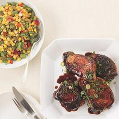 Asian-Style Barbecue Pork Chops and Succotash