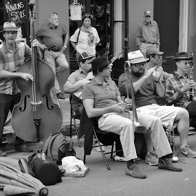 Street Musicians by Jim Czech - Black & White Street & Candid ( music, musicians, new orleans, band, street musicians, french quarter, busker, brass, street photography,  )