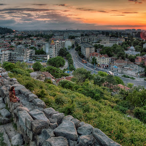 Sunset in Plovdiv by Anton Donev - City,  Street & Park  Skylines ( building, skyline, hdr, street, stone, cityscape, city, urban, landmark, sky, female, sunset, woman, outdoors, buildings, landscapes )