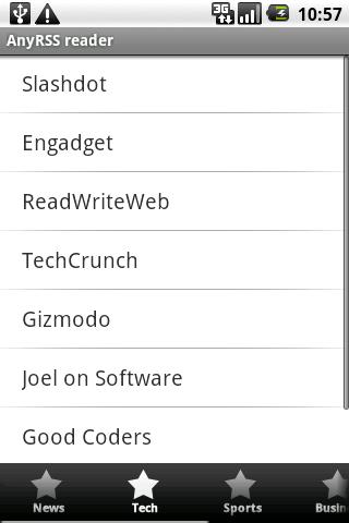 Any RSS reader + widget