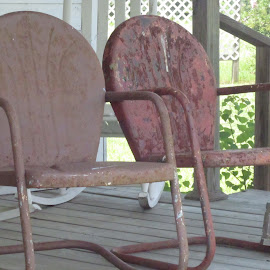 Old Chairs by Titus Belgard - Artistic Objects Furniture ( orange, old, metal, chairs, louisiana, front porch,  )