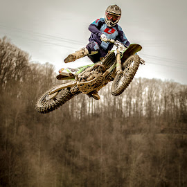 by Angela Sweeney Sellards - Sports & Fitness Motorsports ( danger, motocross, experience, whip, kawasaki, jump )