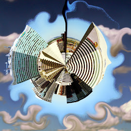 Planet Edmonton by Joerg Schlagheck - Digital Art Abstract ( wow, wifi, curly clouds, planet, sky, towers, hundred, wonderland., edmonton, weird,  )