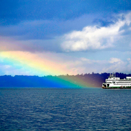 Rainbow Touch by Deanna Matthews - Landscapes Travel ( waterscape, boats, weather, travel, landscape )