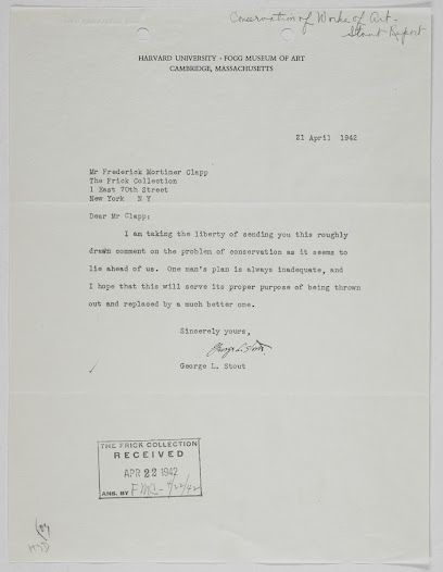 Letter from George Stout, future Monuments Man, to Frederick Mortimer Clapp, Director of the Frick Collection, regarding his report on the problem of museum conservation during wartime.