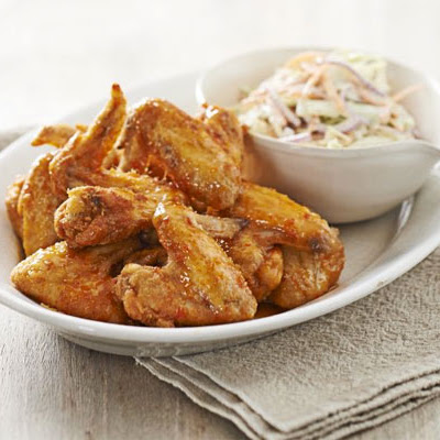 Crispy Honey Buffalo Wings With Blue Cheese & Celery Slaw