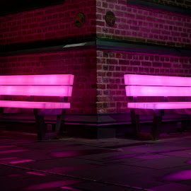 Pink Couple by Geir Christensen - Artistic Objects Furniture ( drammen, benches, couple, pink, light, norway, public, bench, furniture, object, the mood factory, mood, lighting, sassy, colored, colorful, scenic, artificial, lights, scents, senses, hot pink, confident, fun, mood factory  )
