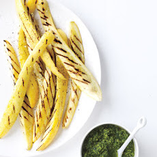 Grilled Squash with Walnut-Parsley Pesto