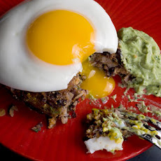 Black Bean Cakes with Fried Eggs and Avocado Crema Recipe