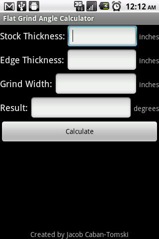 Flat Grind Angle Calculator