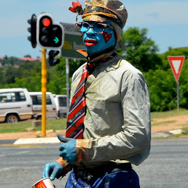 Blueman at a South Africa robot by Federico Domenici - People Portraits of Men