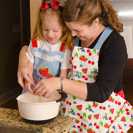 Baking Cookies with Mommy by Russell McFarland - Food & Drink Cooking & Baking ( cooking with mommy, little girl, baking cookies, children cooking, mommy, cooking, baking, cooking with mom, little cook, chef )