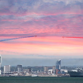 Red Arrows Magic by Kelly Murdoch - Transportation Airplanes ( portsmouth, red arrows, flying, sky, d day, display, jets, raf, ztam, air, transport )