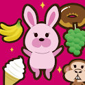 Sweets and hungry animals icon