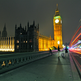 UK, London, Westminster, Big Ben, and the Road by Felice Bellini - City,  Street & Park  Night ( uk, london, westminster, big ben )