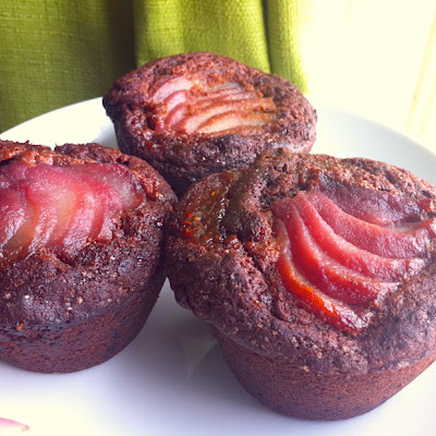 Poached Pear Chocolate Muffins with a Raspberry Swirl