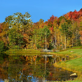Deep Reflections by Dennis Rubin - Landscapes Mountains & Hills ( deep reflections, autumn, fall, 2014-10-03, 2014 vermont, vermont, deep, pond, , color, colorful, nature )