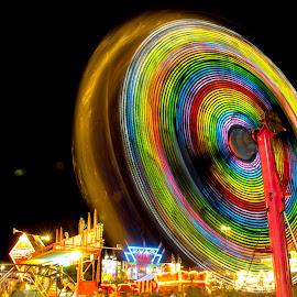 Round and Round We Go by Michele Dan - City,  Street & Park  Amusement Parks ( night photography, amusement park, amusement ride, fair, slow shutter )