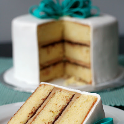 Vanilla Cake with Tiramisu Buttercream and Bittersweet Ganache Filling