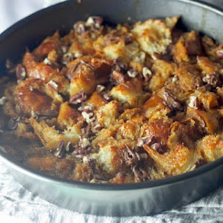 Caramel Croissant Bread Pudding with Bourbon