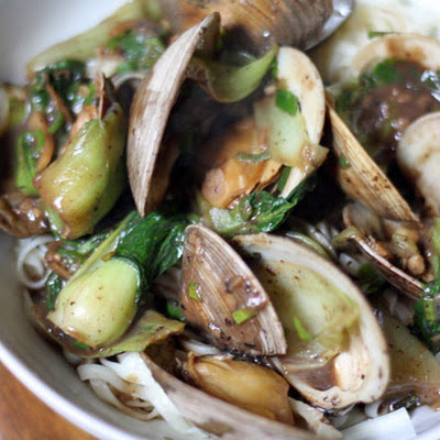 Clams with Black Bean Sauce, Bok Choy, and Noodles