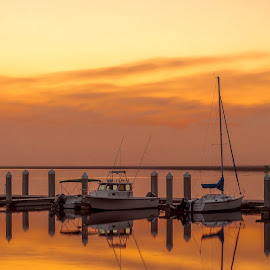 Orange Sunset by Sean Touton - Transportation Boats